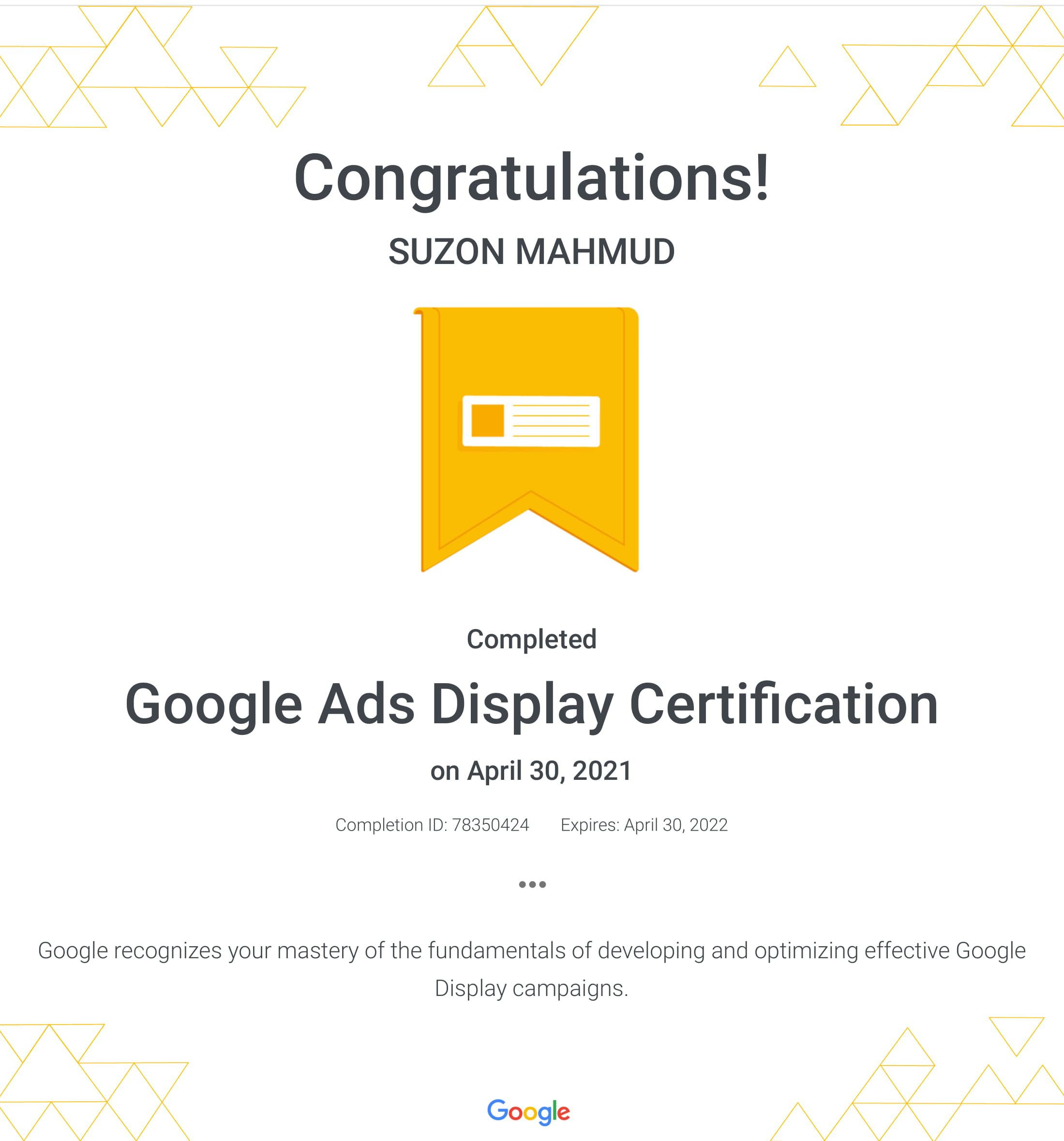 Successfully Completed The Google Advertising Display Certification Exam Advertising Google Certifications Ppc In 2021 Google Ads Exam Answer Google Advertising