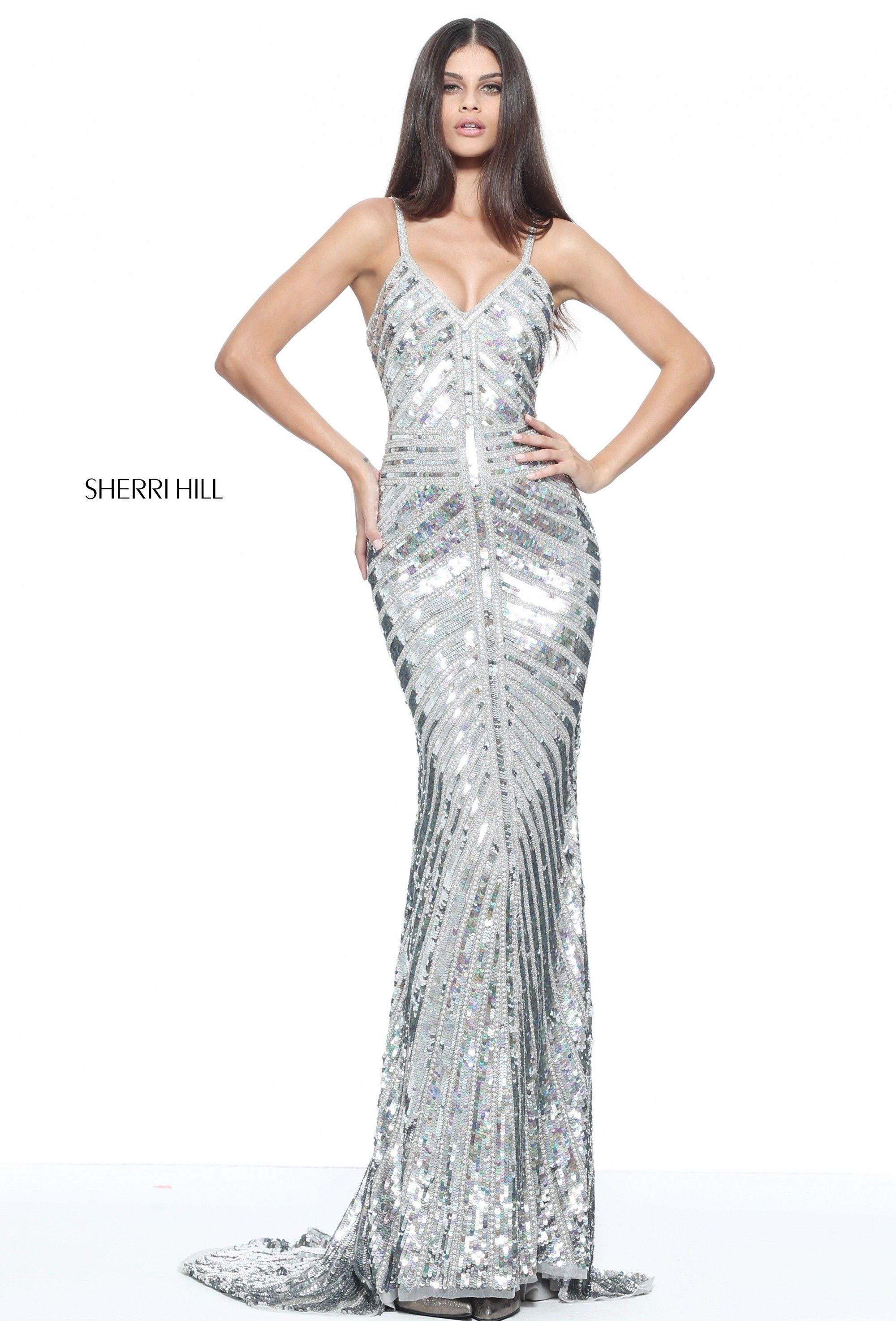 0e2e8644b1 Silver beaded trim adorns this Sherri Hill 51206 sleeveless silver print prom  dress with a deep V-neckline