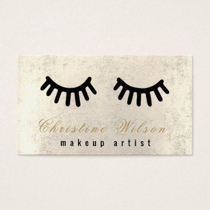 #makeupartist #businesscards - #cartoon black lashes makeup artist business card