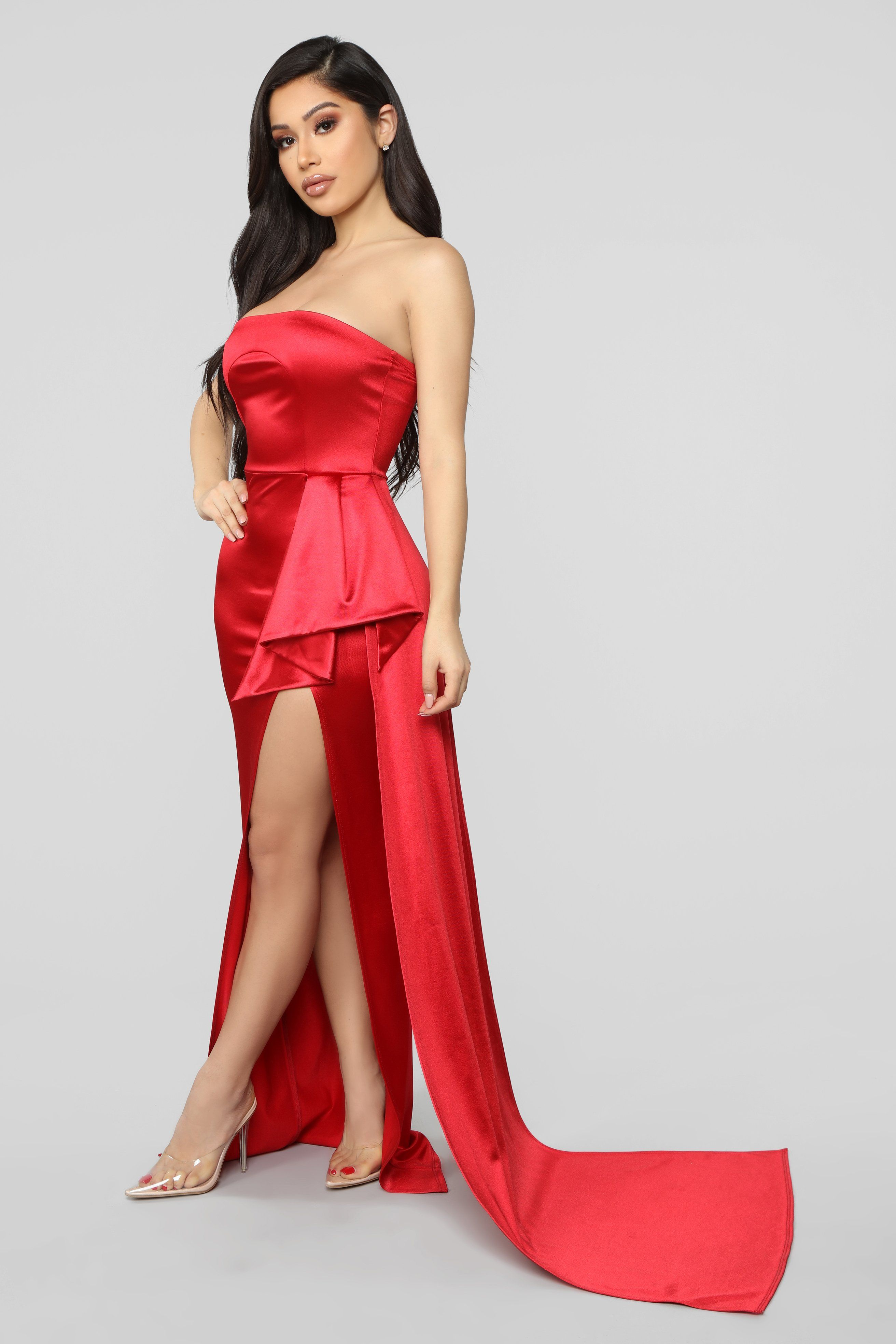 Glimpse Of Glamour Satin Gown Red Fashion, Classy