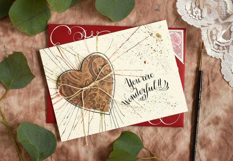 folded heart handmade card tutorial  carte anniversaire