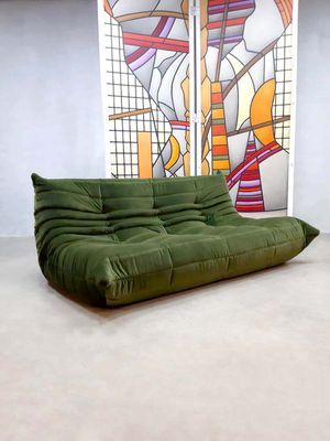 Vintage Forest Green Velvet Togo Sofa By Michael Ducaroy For Ligne Roset For Sale At Pamono Togo Sofa Ligne Roset Sofa Green Sofa