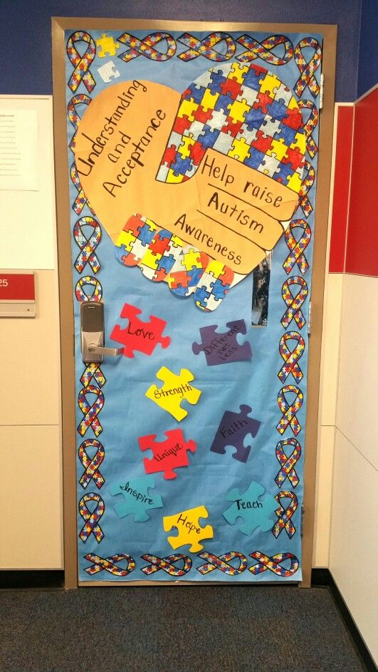 Classroom Decorations For April ~ April autism awareness classroom doors pinterest