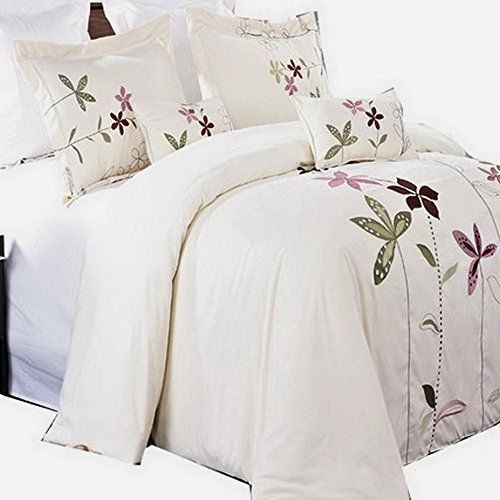 Embroidered Duvet Cover, White Bedding With Embroidered Flowers