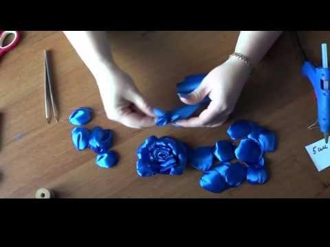 Passo a passo em Vídeo de mais uma Flor com Fita de Cetim Azul - YouTube