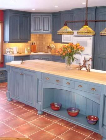 Blue Cabinets With Saltillo Look Tile Floors And Butcherblock Counter Top Home Kitchens Living Room Tiles Country Kitchen