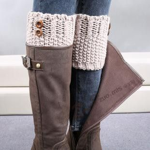 7 Colors Women Short Button Crochet Leg Warmers Winter Fall Knit Boot Cuffs Socks Boot Warmers Hollow Boot Toppers Gaiters