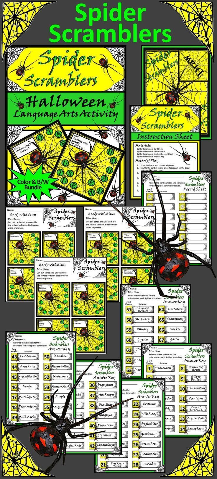 Halloween Activities Spider Scramblers Activity Packet