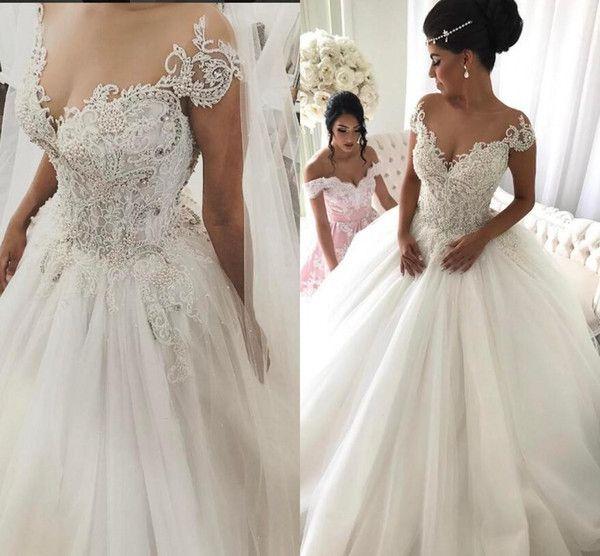 Cheap Luxurious Lace 2017 Arabic Wedding Dresses Sheer Neck Beaded ...