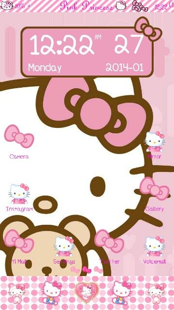 Pink Hello Kitty S3 Theme I Changed Up The Icons And Wallpaper Theme Bought From Prettydroid The Hello Kitty Christmas Pink Hello Kitty Hello Kitty Wallpaper
