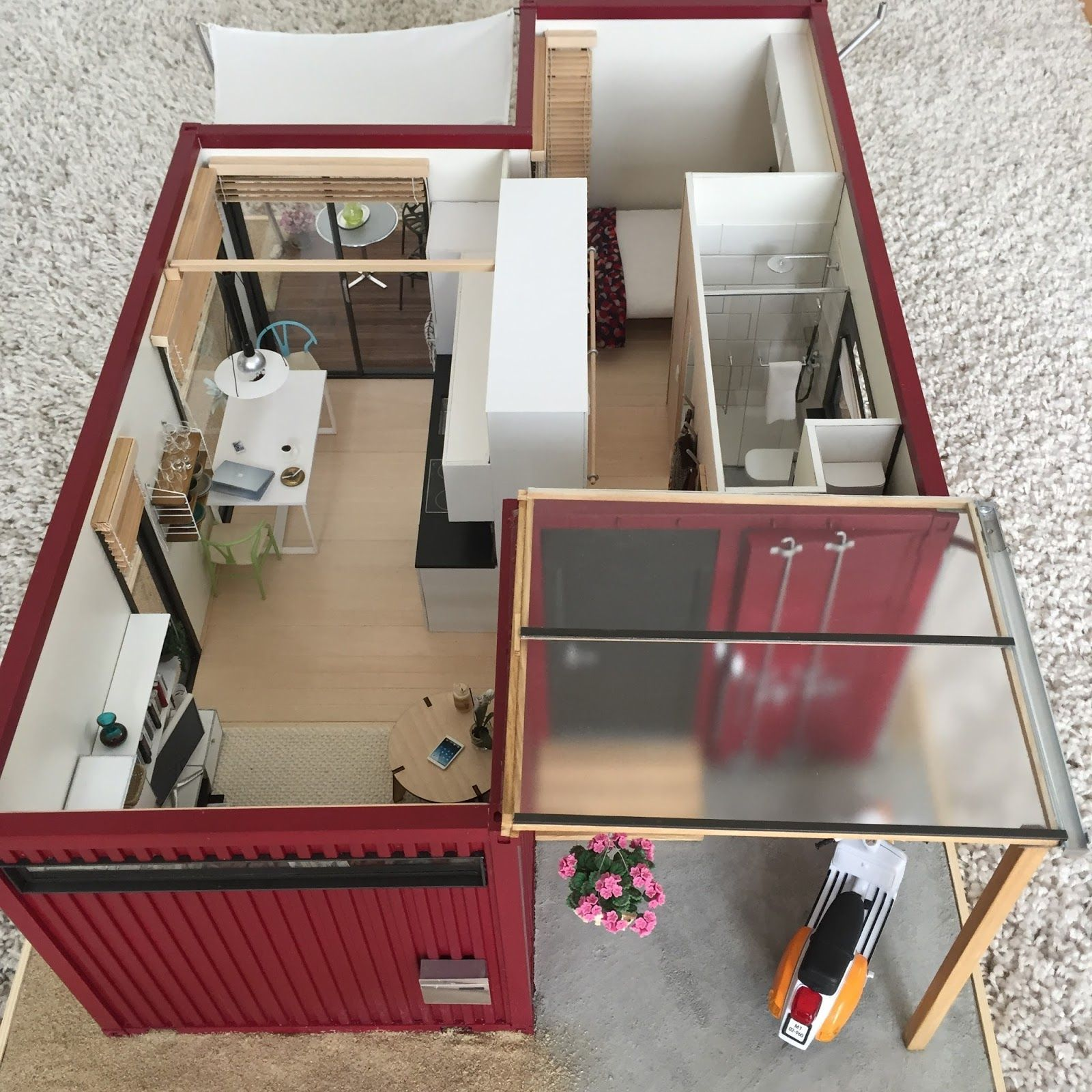 1:12 Scale Modern Model Houses: 1:12 Scale Shipping Container House  Completed