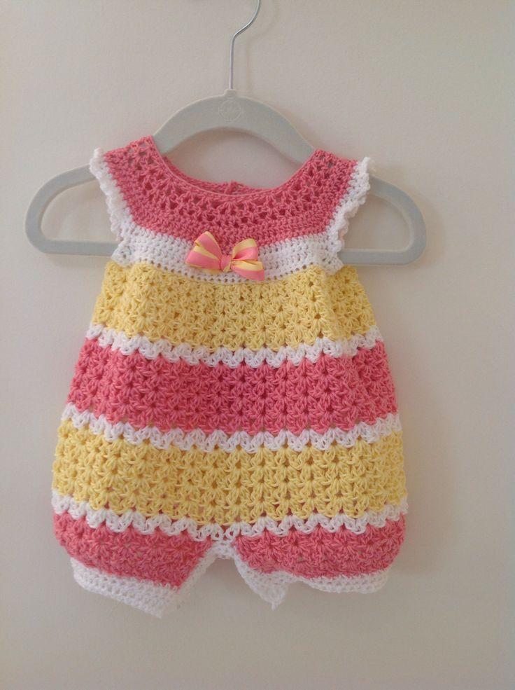 Crochet Baby Dress Crochet infant romper 0-3 months - Baby crochet patterns are...