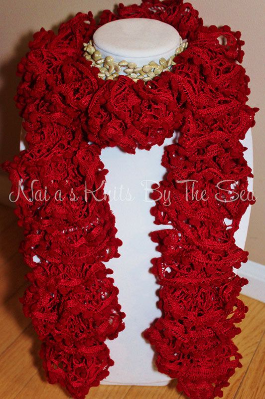 Nai'a's Handmade PomPom Wave scarf Red Rose by NaiasKnitsByTheSea, $20.00