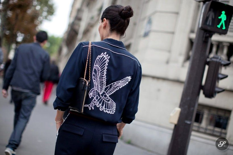 fashion stylist katie mossman leaving the chloé fashion show during paris fashion week. I'm in love with the eagle print of the backside of ...