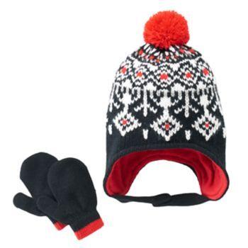 Toddler Boy Carter's Fairisle Knit Hat & Mittens Set   Hogans snow ...