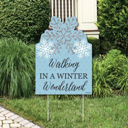 Winter Wonderland - Party Decorations - Snowflake Holiday Party & Winter Wedding Welcome Yard Sign