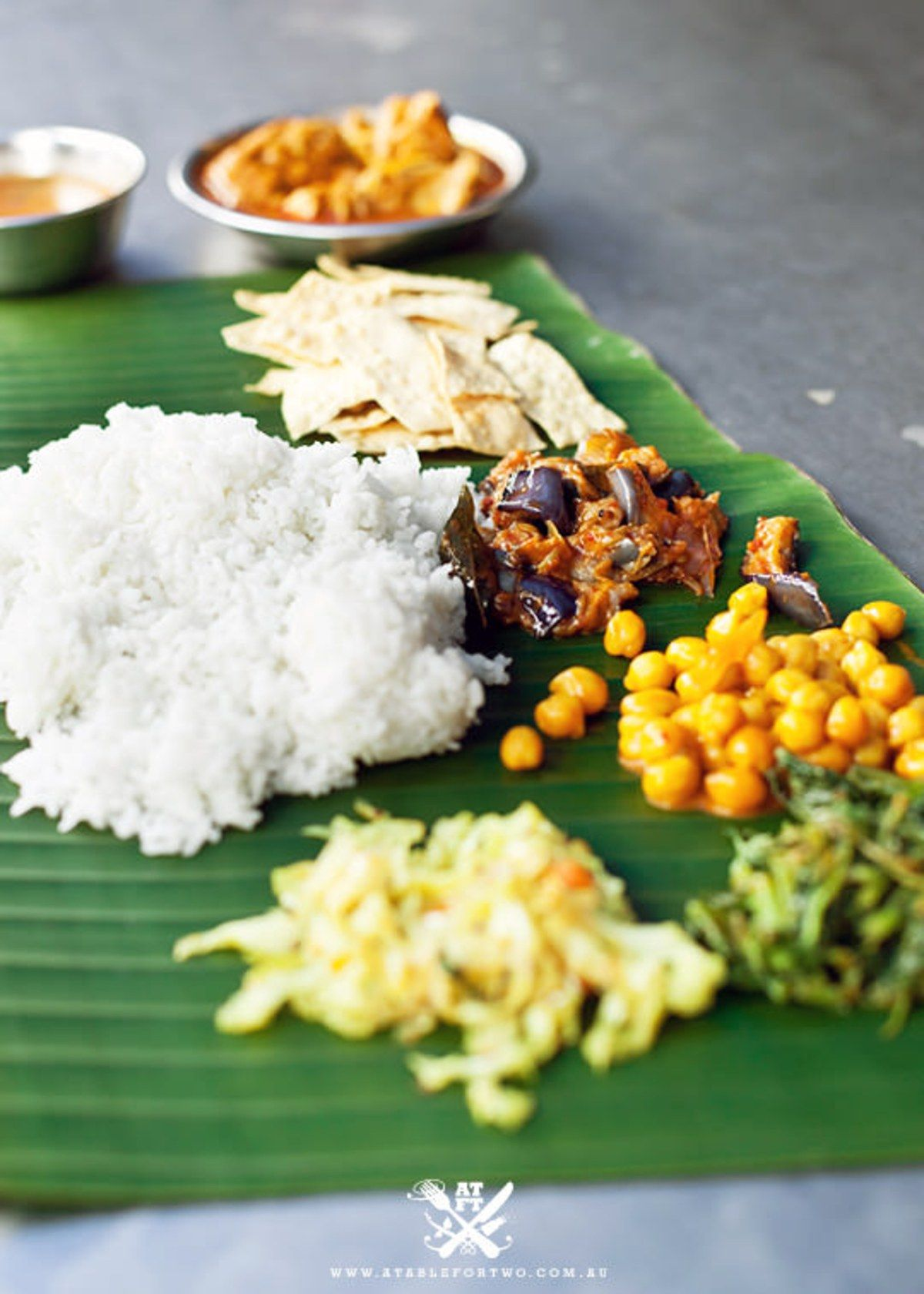 My favourite meal, curry off a banana leaf. Postcard from