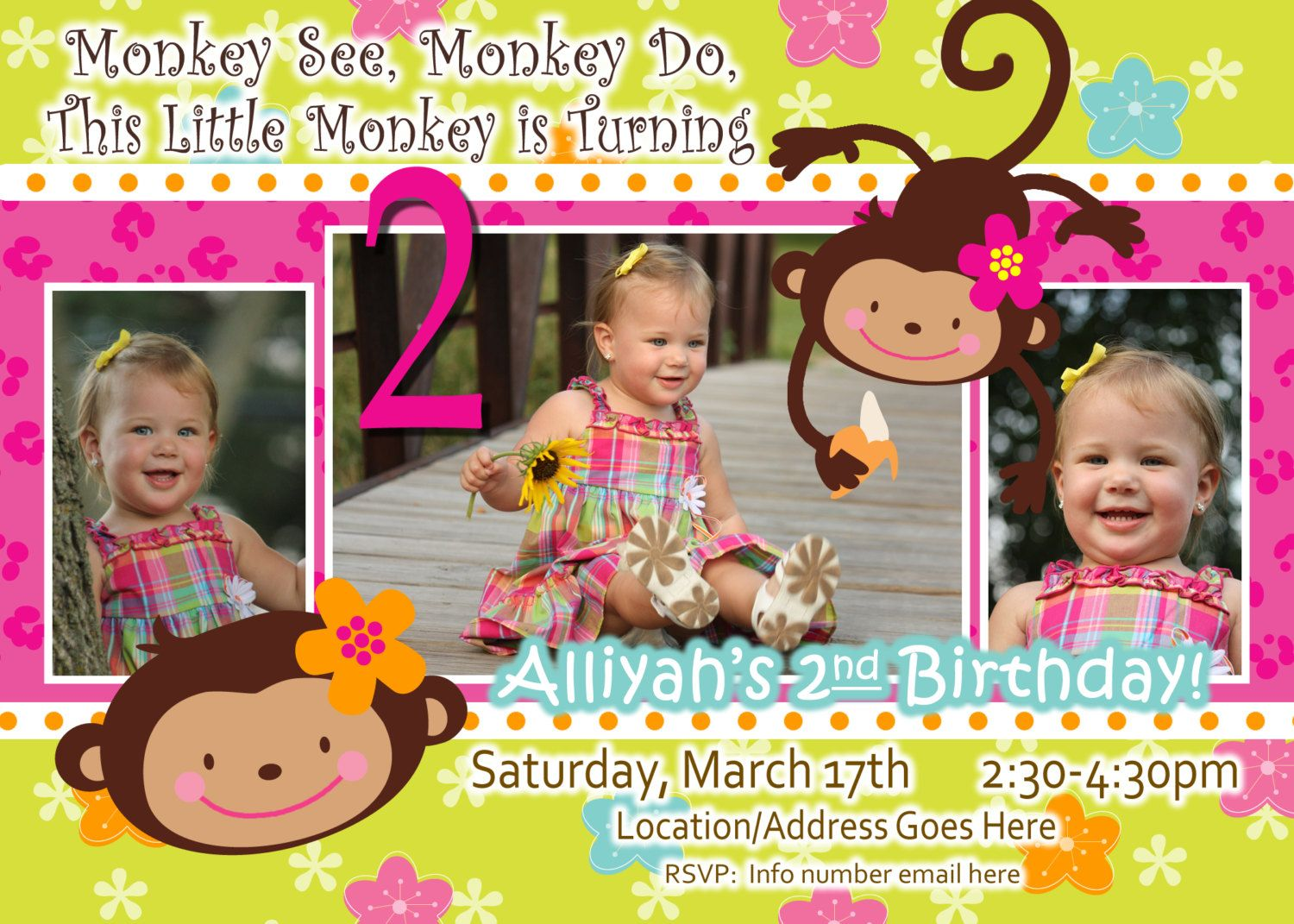 Monkey Love Invite Birthday Photo Invite 1 Year Old 2 Years Old