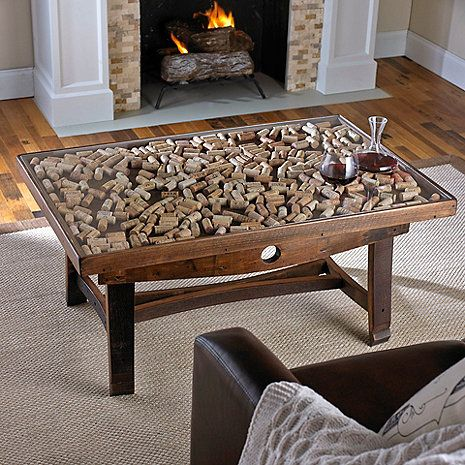 Collectors Display Top Coffee Table With Barrel Stave Legs At Wine