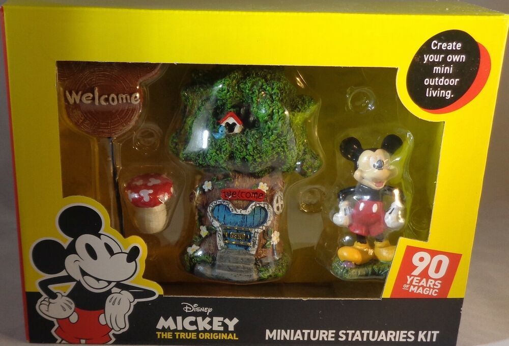 Garden Decor Disney Mickey Mouse 4 Piece Miniature Statuaries
