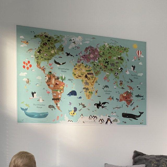 Weltkarte für Kinder Poster Kinderzimmer XXL illustrierte