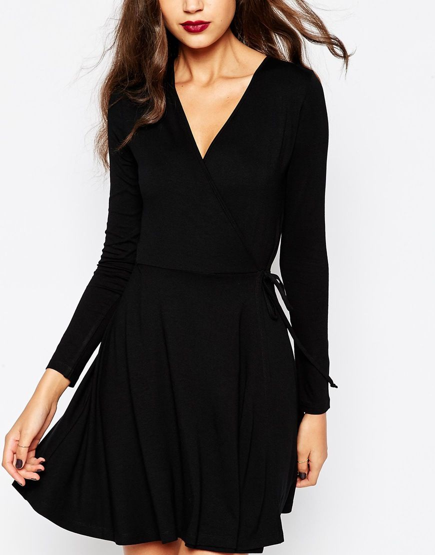 ASOS TALL Wrap Front Mini Dress With Long Sleeves