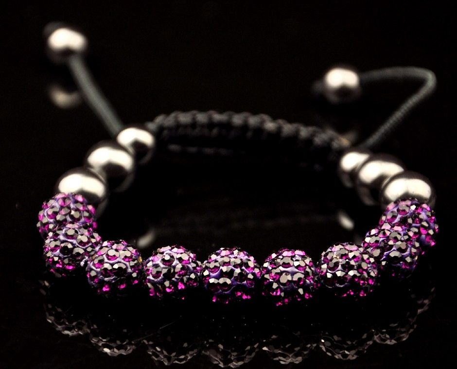 Shamballa de cristal da cor roxa.