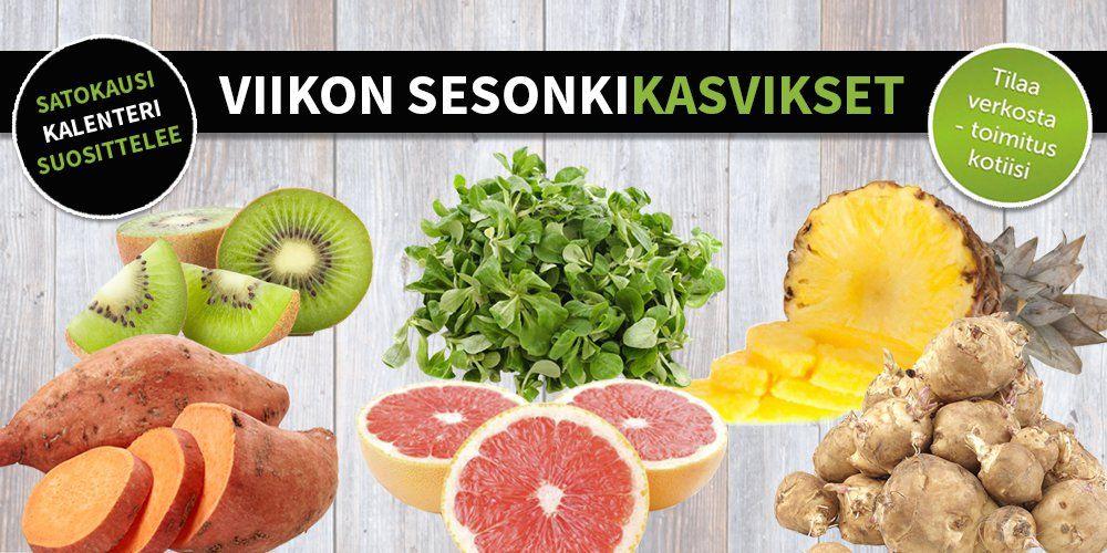 Sesonkikasvikset viikoille 15-16 #satokausikalenteri #sesonkikasvikset #hedelmä #kiivi #artisokka #bataatti #vuonankaali #ananas #verigreippi