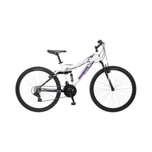 26 Mongoose Women S Mountain Bike White 21 Speed Aluminum Frame Full Suspension Mongoose Womens Bike Mongoose Bike Bike