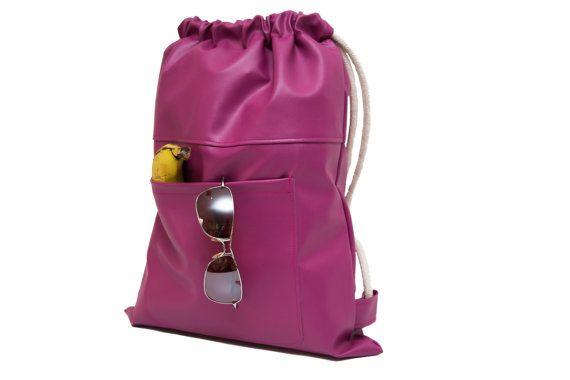 Pink drawstring Bags Backpack purse hippie backpack by SneakyTeaky