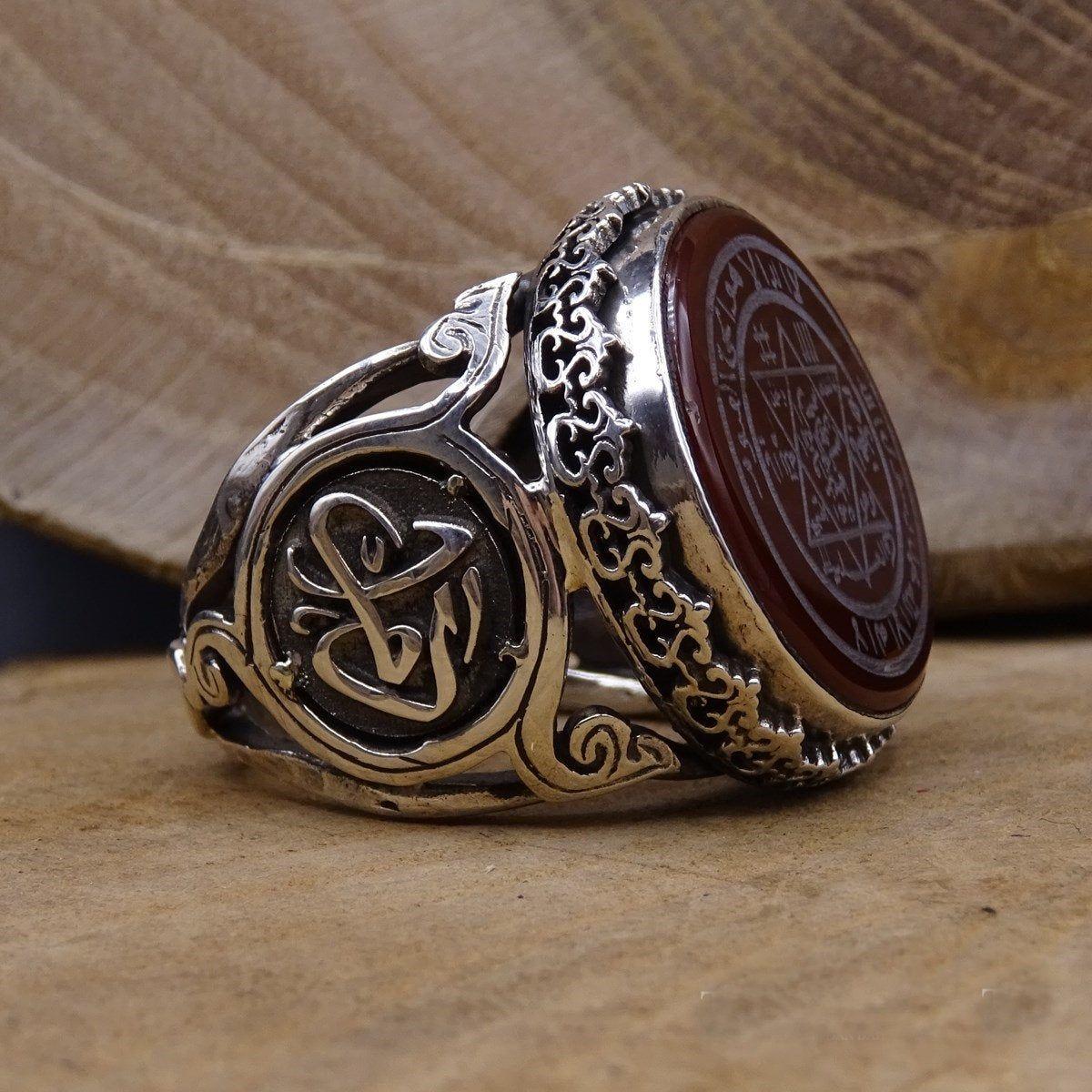 Muhru Suleiman Sterling Silver Ring, Mens Ring, Agate