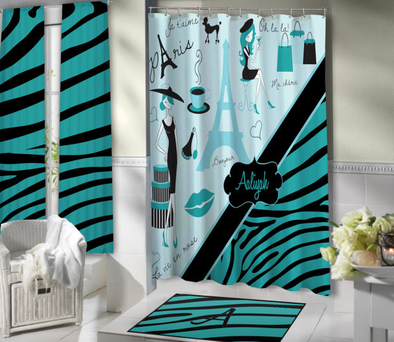 Stylish Paris Shower Curtain, Aqua Blue Bathroom Theme