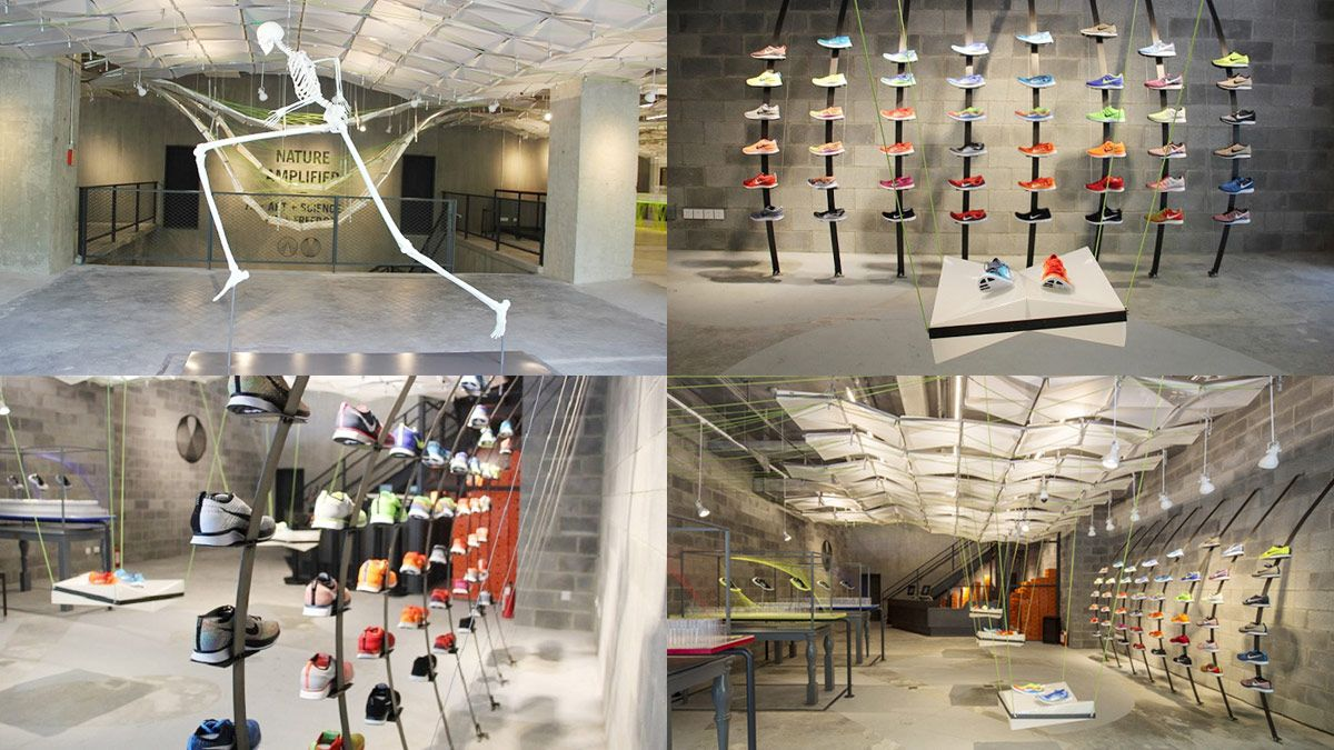 Opened in shanghai in august 2013 nikes concept store is entirely constructed from trash including 5500 drinks cans 2000 water bottles and 50000 old