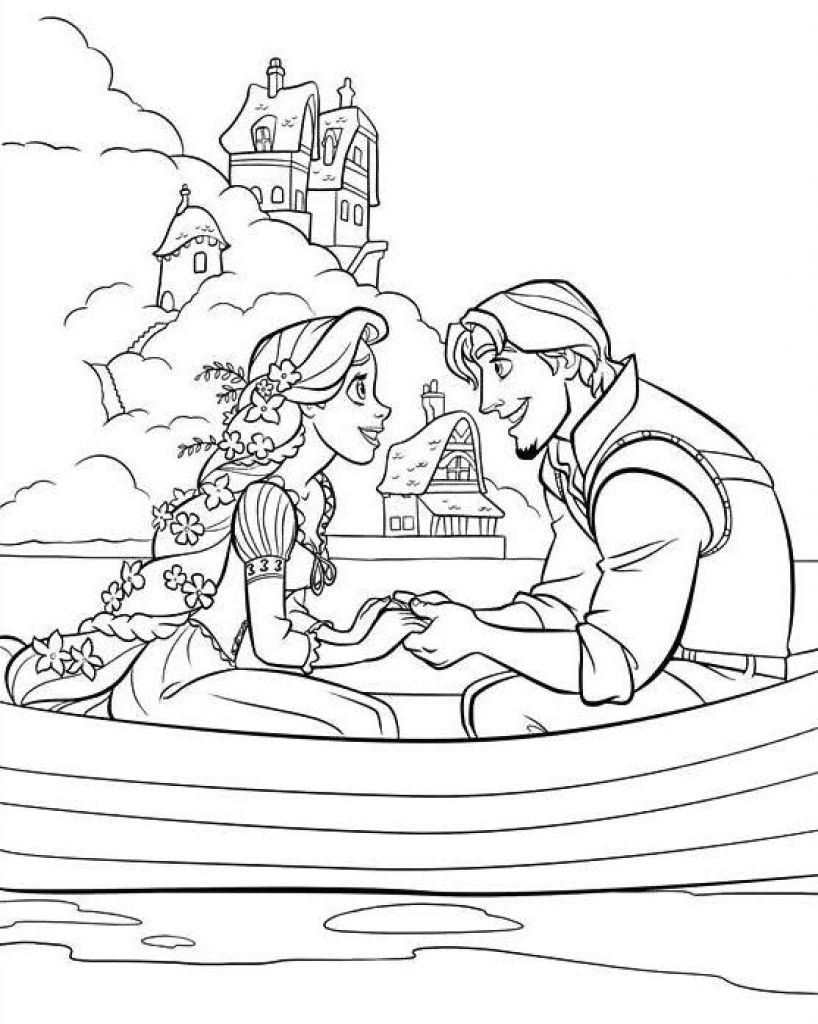 Beautiful Princess Rapunzel And Flynn On A Boat Coloring Page Jpg 818 1024 Disney Princess Coloring Pages Tangled Coloring Pages Princess Coloring Pages