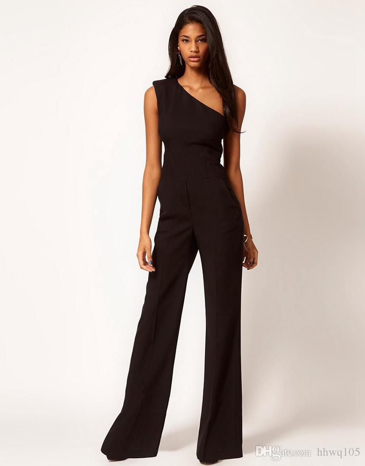 e68dc0d09a86e Wholesale Ladies Sexy Jumpsuit Pant One Shoulder Slim Waist Black Jumpsuits  Rompers One Piece Flared Trousers Pants Women Elegant Party Suit ZND1003