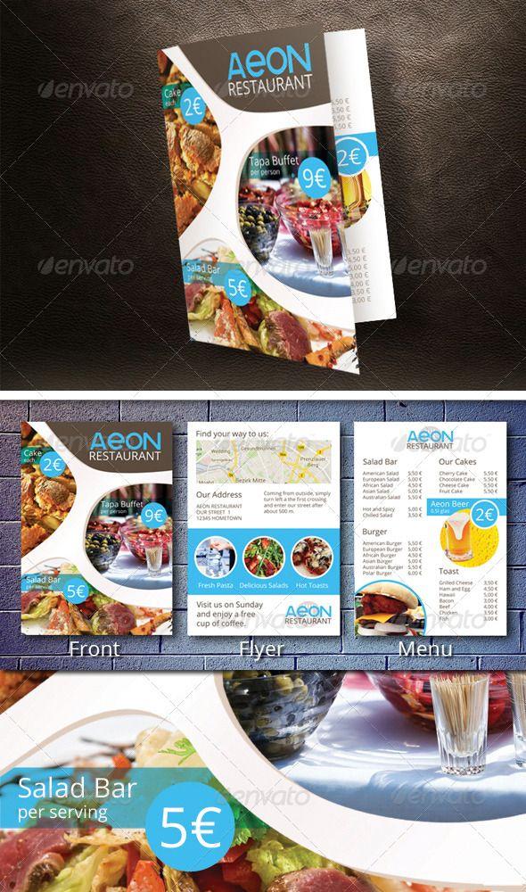 Aeon Restaurant Flyer Template with Menu