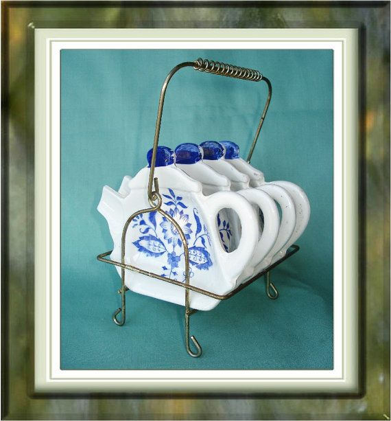 Vintage Tea Bag Holder Set with Wire Rack Tea Pot Blue Onion Pattern ...