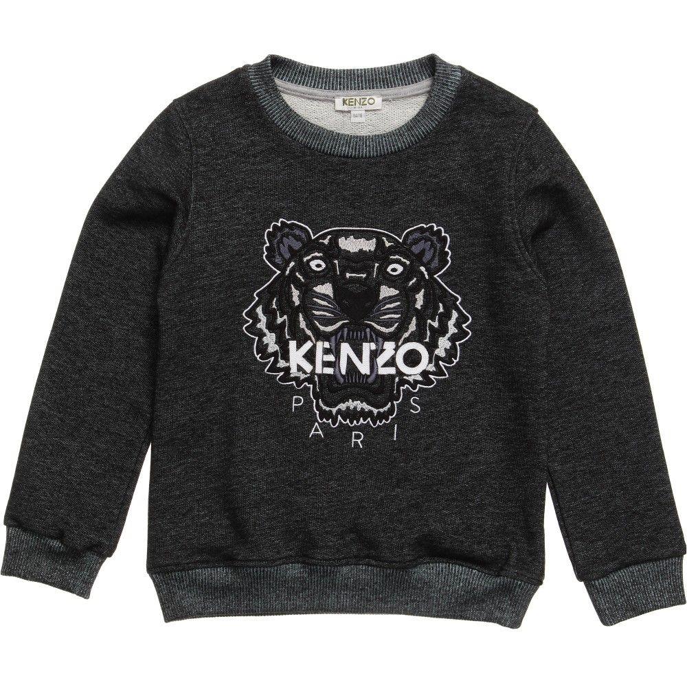 Dark grey marl sweatshirt by Kenzo with the iconic tiger