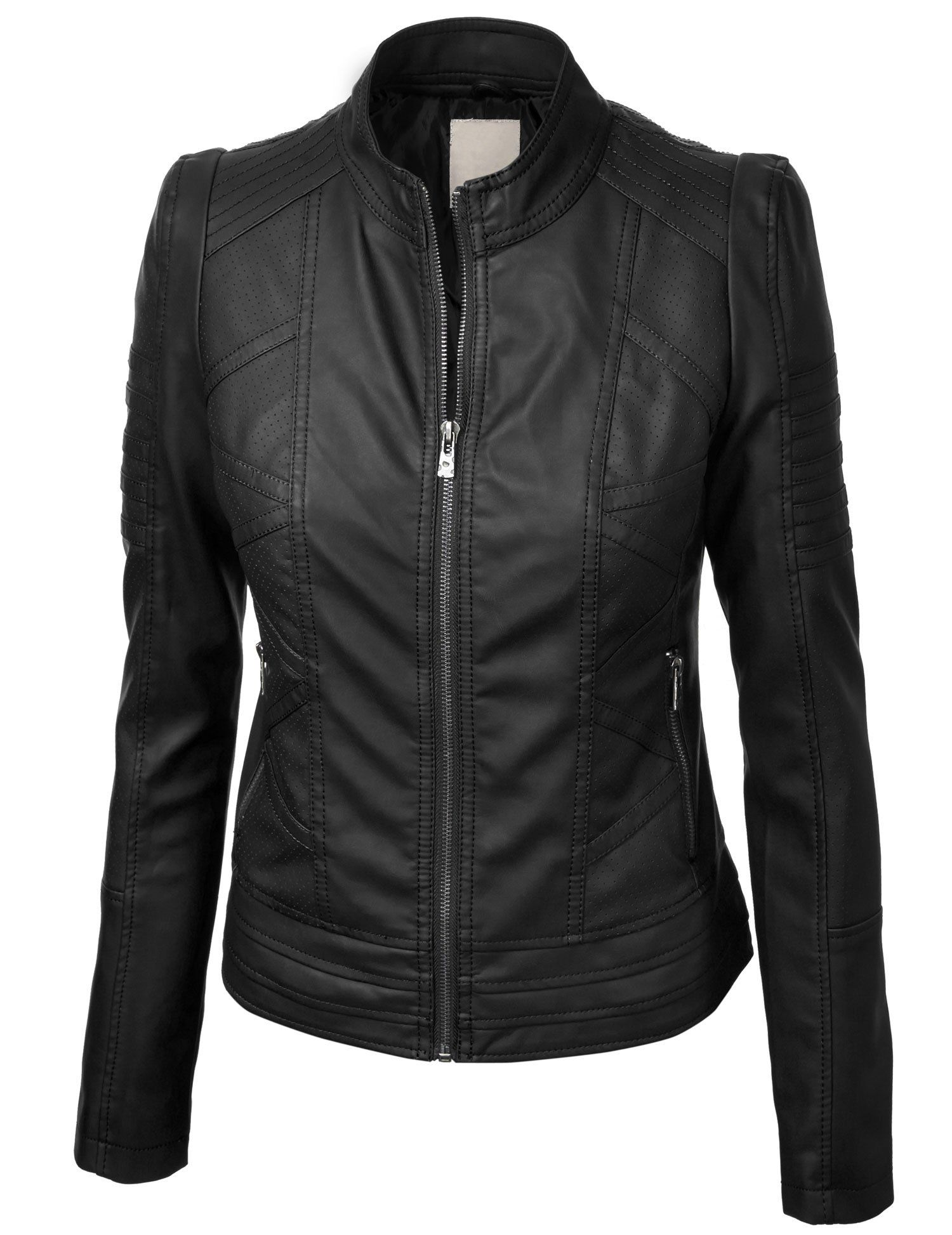 LL Womens Vegan Leather Motorcycle Jacket L BLACK