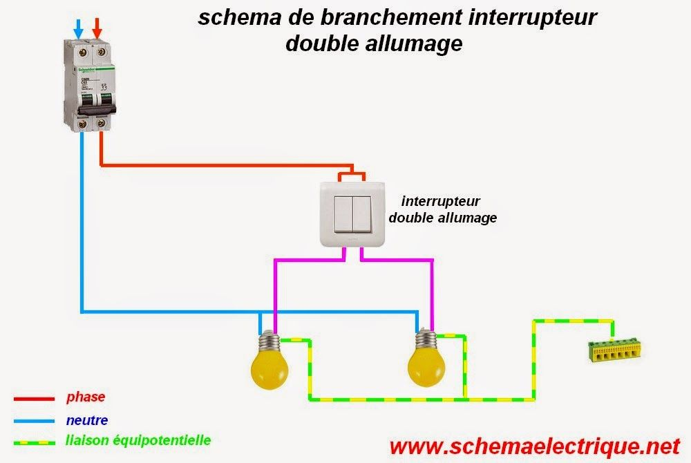 schema branchement double allumage electrique elc Pinterest - Photo Tableau Electrique Maison