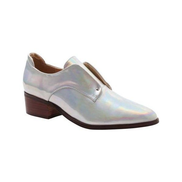 Women's Kensie Dante Laceless Oxford - Silver Patent Polyurethane... ($79) ❤ liked on Polyvore featuring shoes, oxfords, casual, casual shoes, patent leather oxfords, patent leather shoes, oxford shoes, pu shoes and patent oxfords