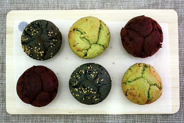 Matcha Mochi Cakes with variations in black sesame and chocolate