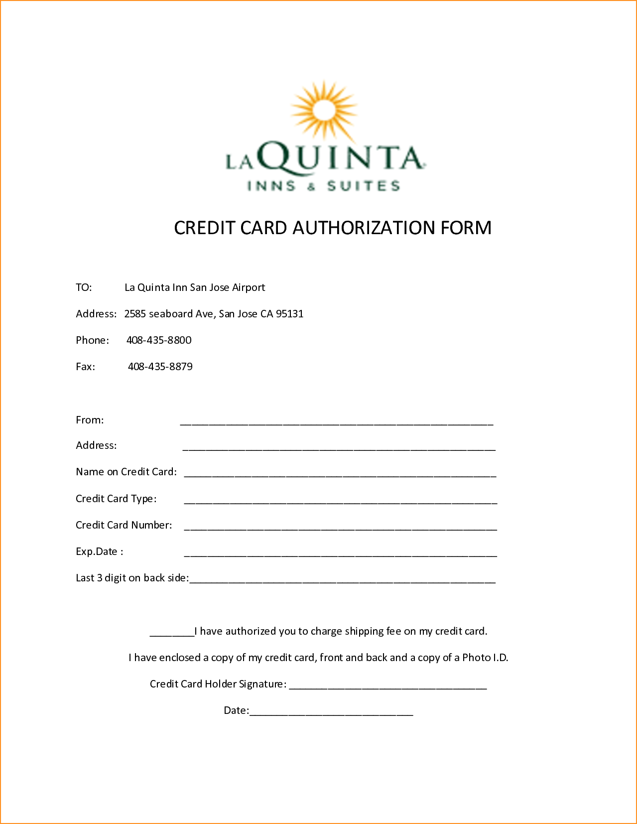 Hotel Credit Card Authorization FormPng  Manager Resume