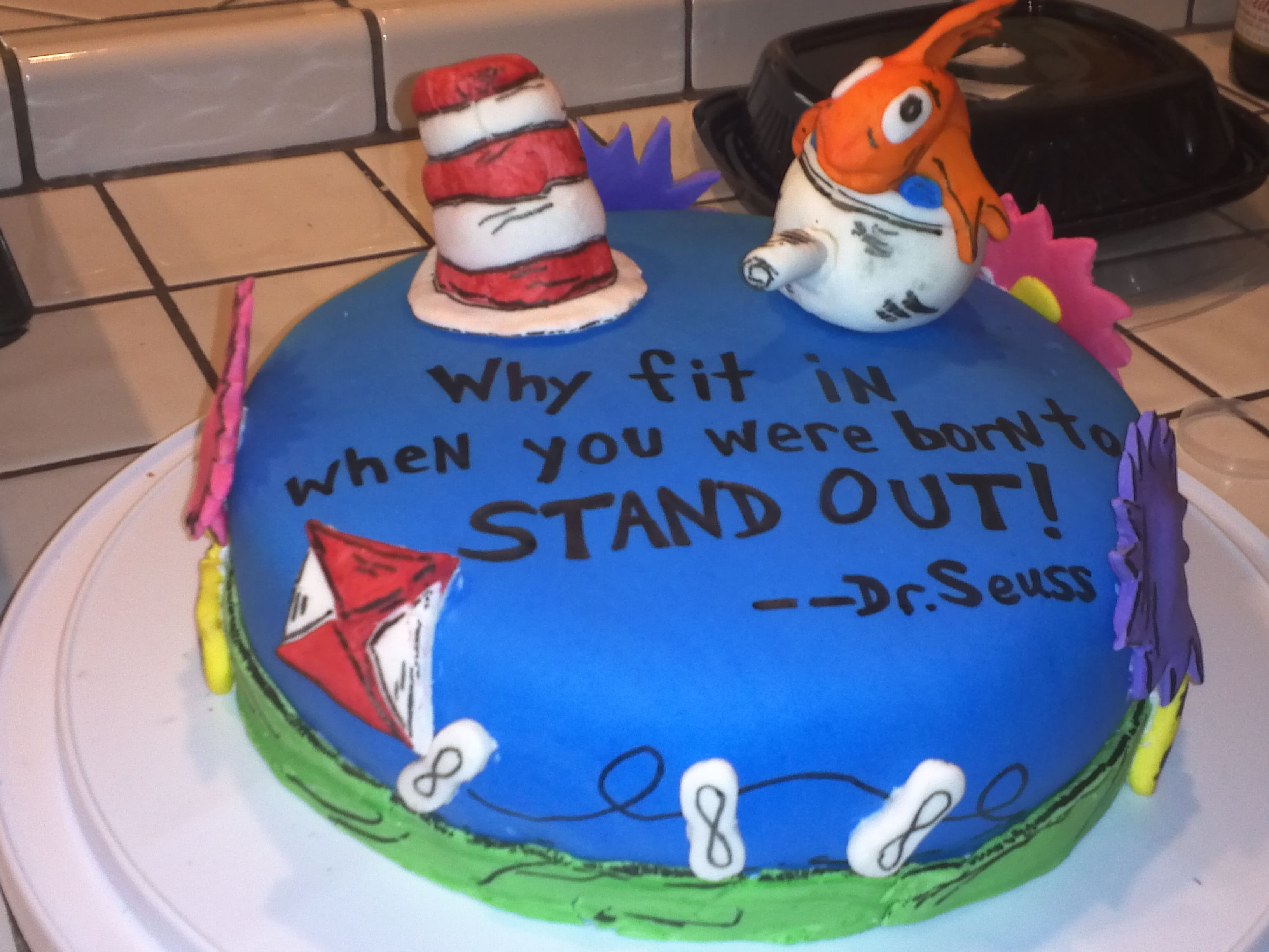 Dr Seuss Marshmallow Fondant Cake I Made For My Little