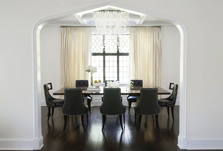 Gorgeous Dining Room Design With Charcoal Gray Tufted Chairs Blue Klismos Captain