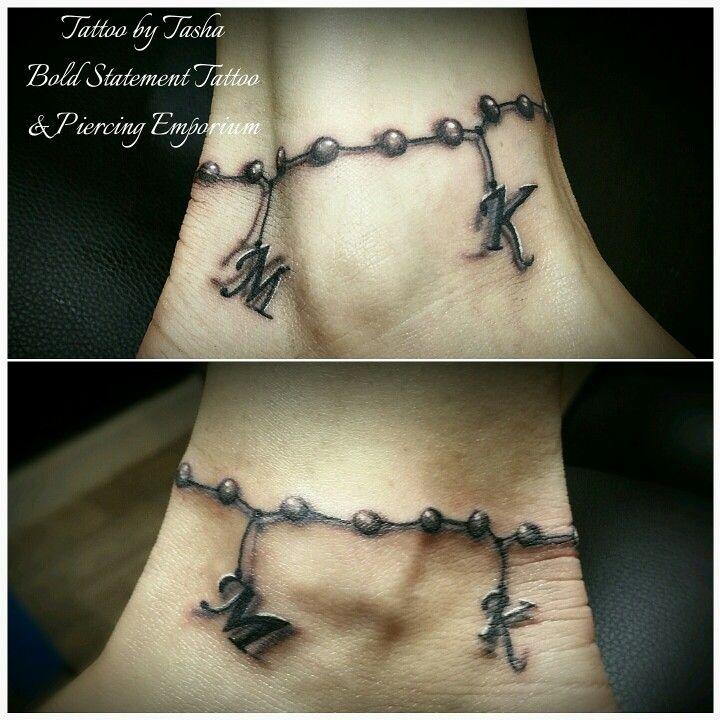 Black And Grey Freehand Ankle Bracelet Tattoo Tatoos Tattoos