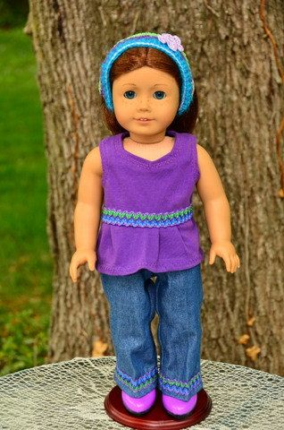 American Girl style 4 piece outfit including Jeans , purple shirt and purple cowgirl boots. by TresChicDollClothes on Etsy