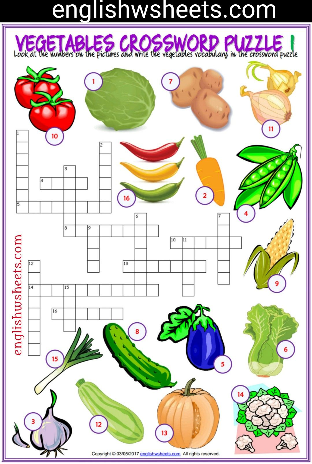 Vegetables Esl Printable Crossword Puzzle Worksheets For