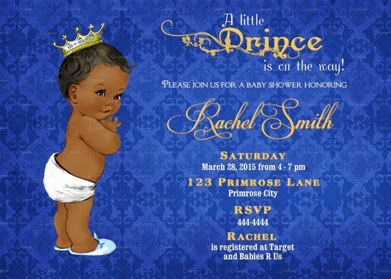 African american boy baby shower invitation boy printable royal vintage royal blue damask and gold african american prince baby shower invitation by cuddlebuginvitations filmwisefo