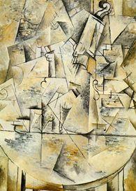 kubisme,  hoekige vormen, elkaar snijdende lijnen, geometrisch, reliefeffect,